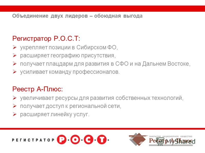 Объединение двух лидеров – обоюдная выгода Регистратор Р.О.С.Т: укрепляет позиции в Сибирском ФО, расширяет географию присутствия, получает плацдарм для развития в СФО и на Дальнем Востоке, усиливает команду профессионалов. Реестр А-Плюс: увеличивает