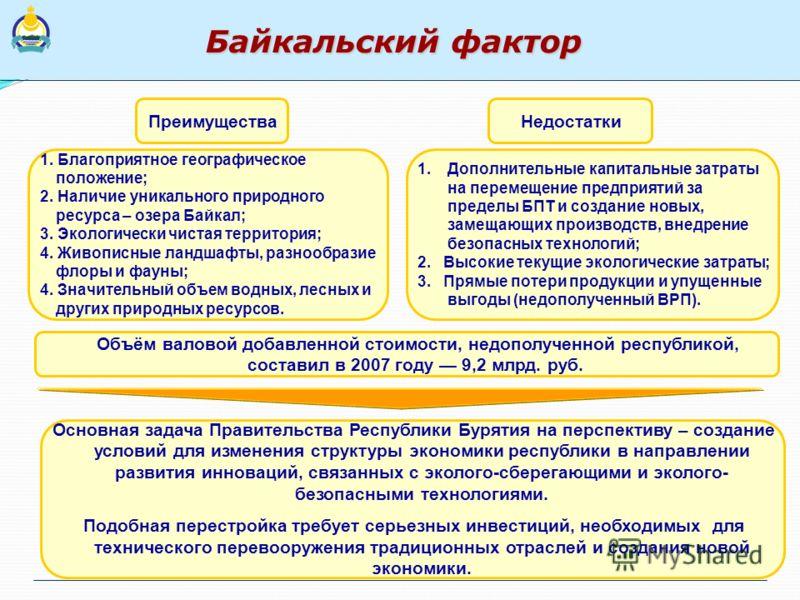 Байкальский фактор НедостаткиПреимущества 1. Благоприятное географическое положение; 2. Наличие уникального природного ресурса – озера Байкал; 3. Экологически чистая территория; 4. Живописные ландшафты, разнообразие флоры и фауны; 4. Значительный объ