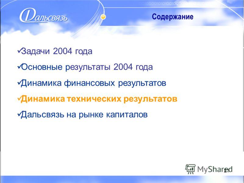21 Содержание Задачи 2004 года Основные результаты 2004 года Динамика финансовых результатов Динамика технических результатов Дальсвязь на рынке капиталов