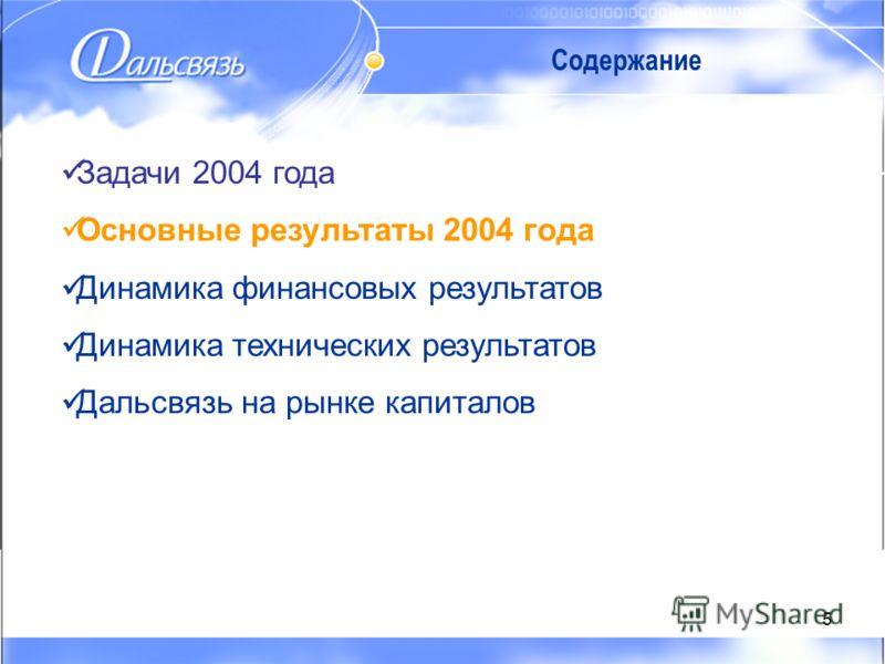 5 Содержание Задачи 2004 года Основные результаты 2004 года Динамика финансовых результатов Динамика технических результатов Дальсвязь на рынке капиталов