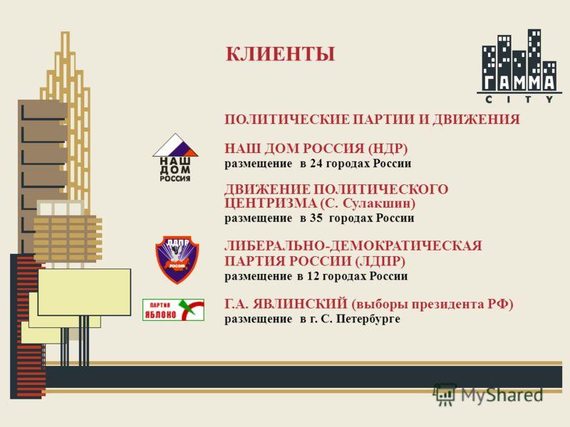 КЛИЕНТЫ ПОЛИТИЧЕСКИЕ ПАРТИИ И ДВИЖЕНИЯ НАШ ДОМ РОССИЯ (НДР) размещение в 24 городах России ДВИЖЕНИЕ ПОЛИТИЧЕСКОГО ЦЕНТРИЗМА (С. Сулакшин) размещение в 35 городах России ЛИБЕРАЛЬНО-ДЕМОКРАТИЧЕСКАЯ ПАРТИЯ РОССИИ (ЛДПР) размещение в 12 городах России Г.