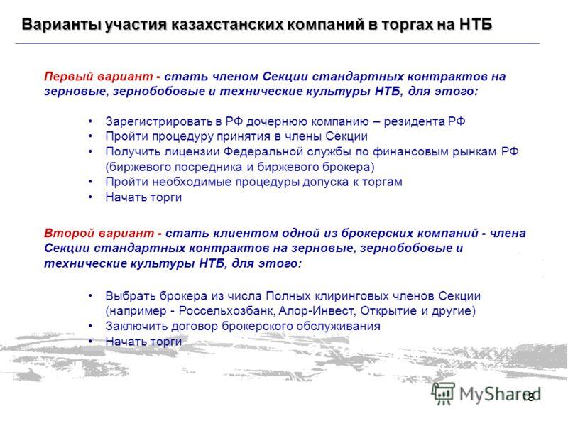 Варианты участия казахстанских компаний в торгах на НТБ Первый вариант - стать членом Секции стандартных контрактов на зерновые, зернобобовые и технические культуры НТБ, для этого: Зарегистрировать в РФ дочернюю компанию – резидента РФ Пройти процеду
