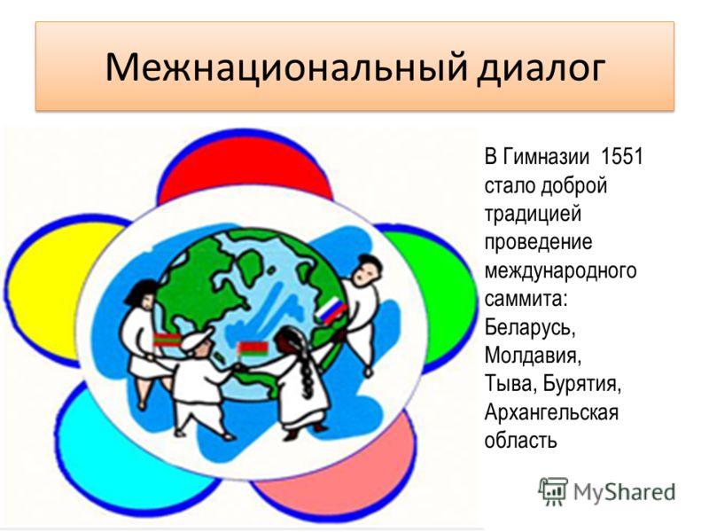 Межнациональный диалог В Гимназии 1551 стало доброй традицией проведение международного саммита: Беларусь, Молдавия, Тыва, Бурятия, Архангельская область