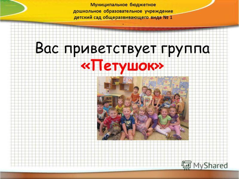 Вас приветствует группа «Петушок» Муниципальное бюджетное дошкольное образовательное учреждение детский сад общеразвивающего вида 1.