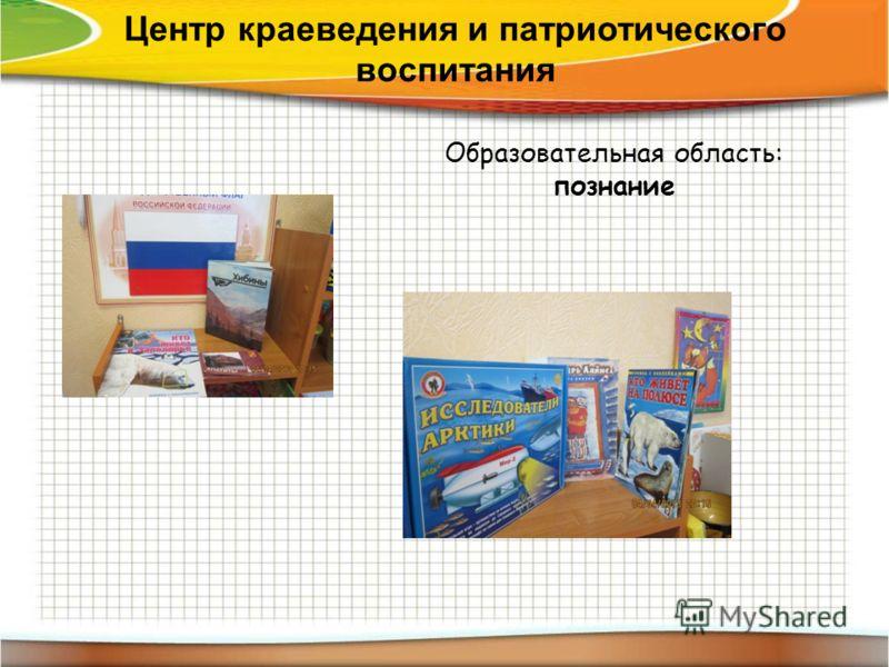 Центр краеведения и патриотического воспитания Образовательная область: познание