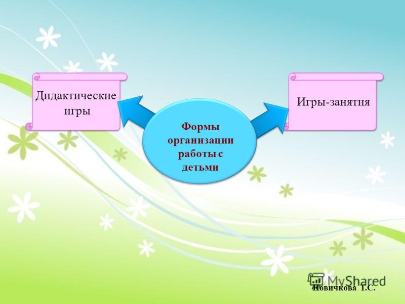 Дидактические игры Игры-занятия Формы организации работы с детьми Новичкова Т.С.