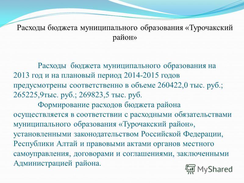 Расходы бюджета муниципального образования на 2013 год и на плановый период 2014-2015 годов предусмотрены соответственно в объеме 260422,0 тыс. руб.; 265225,9тыс. руб.; 269823,5 тыс. руб. Формирование расходов бюджета района осуществляется в соответс