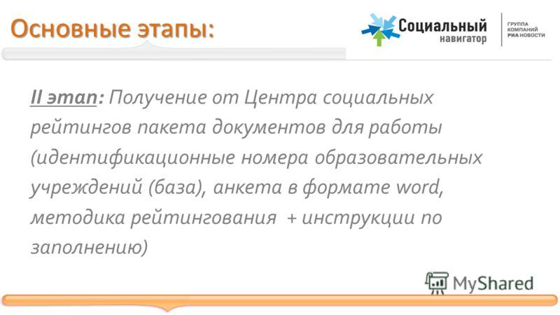 Основные этапы: II этап: Получение от Центра социальных рейтингов пакета документов для работы (идентификационные номера образовательных учреждений (база), анкета в формате word, методика рейтингования + инструкции по заполнению)