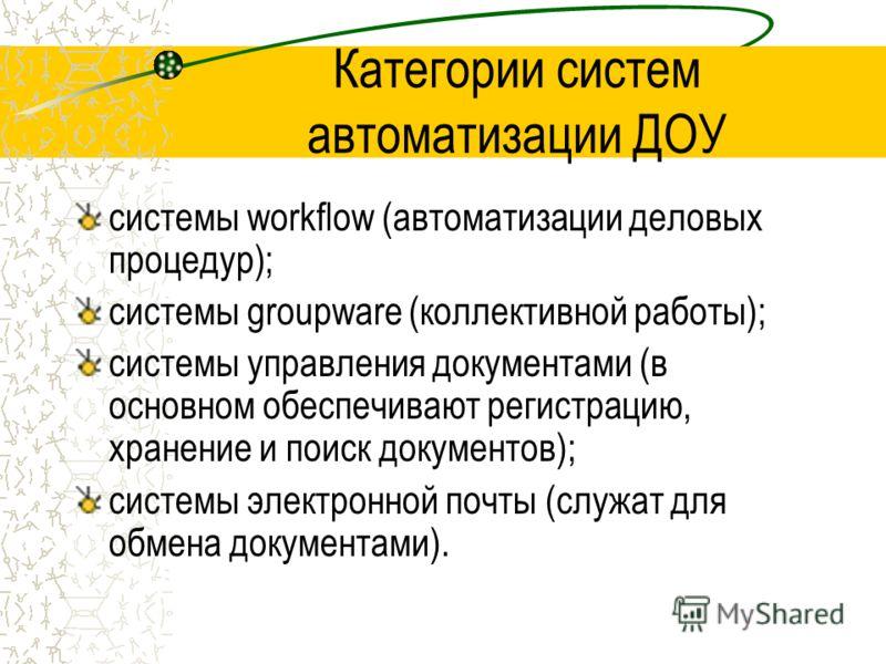 Категории систем автоматизации ДОУ системы workflow (автоматизации деловых процедур); системы groupware (коллективной работы); системы управления документами (в основном обеспечивают регистрацию, хранение и поиск документов); системы электронной почт