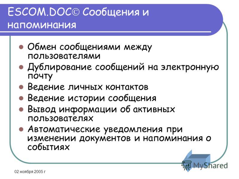 02 ноября 2005 г ESCOM.DOC Сообщения и напоминания Обмен сообщениями между пользователями Дублирование сообщений на электронную почту Ведение личных контактов Ведение истории сообщения Вывод информации об активных пользователях Автоматические уведомл