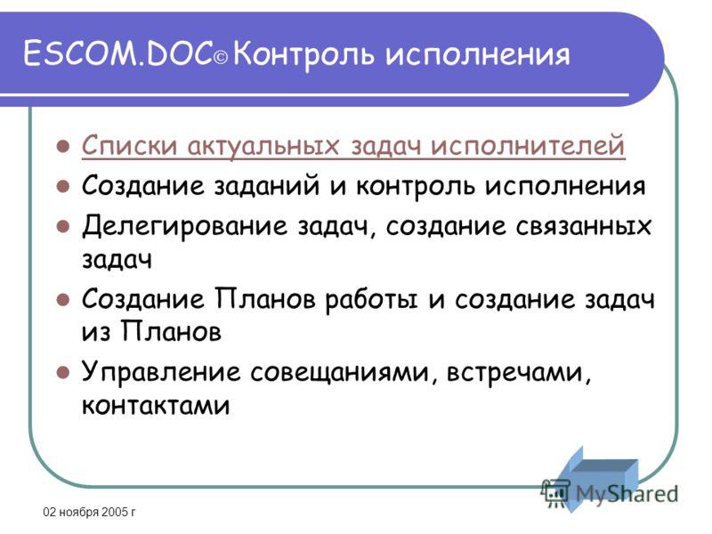 02 ноября 2005 г ESCOM.DOC Контроль исполнения Списки актуальных задач исполнителей Создание заданий и контроль исполнения Делегирование задач, создание связанных задач Создание Планов работы и создание задач из Планов Управление совещаниями, встреча