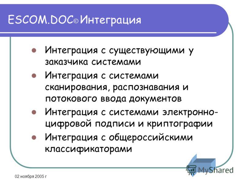 02 ноября 2005 г ESCOM.DOC Интеграция Интеграция с существующими у заказчика системами Интеграция с системами сканирования, распознавания и потокового ввода документов Интеграция с системами электронно- цифровой подписи и криптографии Интеграция с об