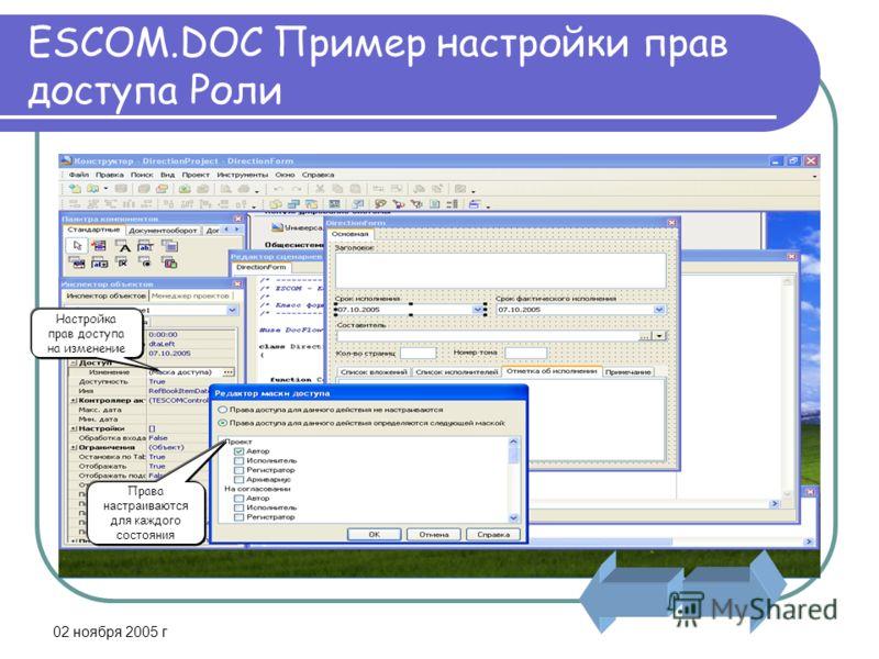 02 ноября 2005 г ESCOM.DOC Пример настройки прав доступа Роли Настройка прав доступа на изменение Права настраиваются для каждого состояния