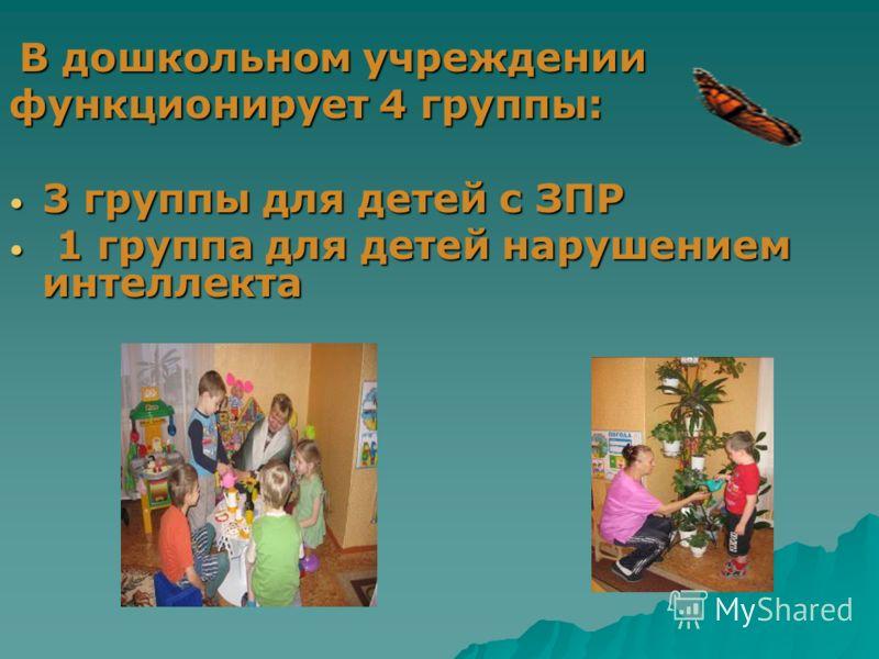 В дошкольном учреждении В дошкольном учреждении функционирует 4 группы: 3 группы для детей с ЗПР 3 группы для детей с ЗПР 1 группа для детей нарушением интеллекта 1 группа для детей нарушением интеллекта