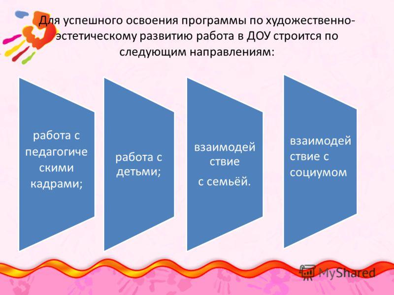 Для успешного освоения программы по художественно- эстетическому развитию работа в ДОУ строится по следующим направлениям: работа с педагогиче скими кадрами; работа с детьми; взаимодей ствие с семьёй. взаимодей ствие с социумом