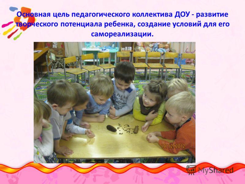 Основная цель педагогического коллектива ДОУ - развитие творческого потенциала ребенка, создание условий для его самореализации.
