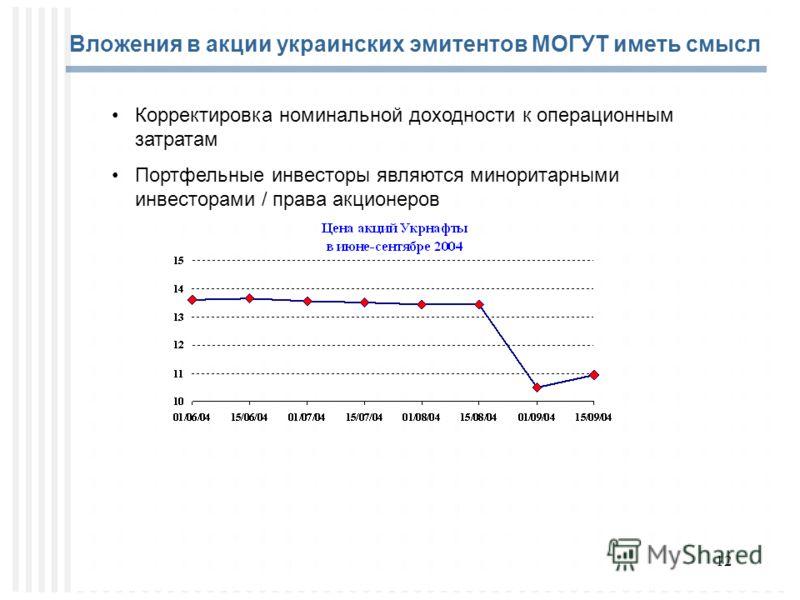 12 Вложения в акции украинских эмитентов МОГУТ иметь смысл Корректировка номинальной доходности к операционным затратам Портфельные инвесторы являются миноритарными инвесторами / права акционеров