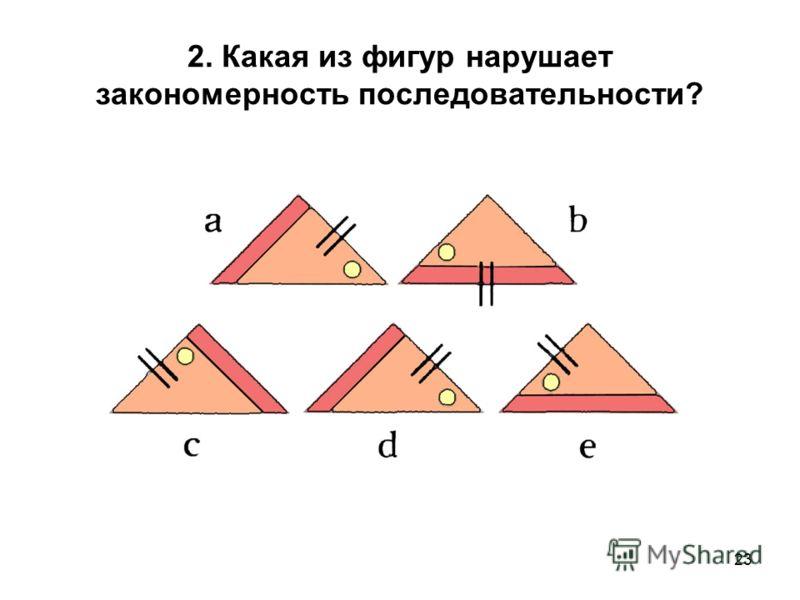 23 2. Какая из фигур нарушает закономерность последовательности?