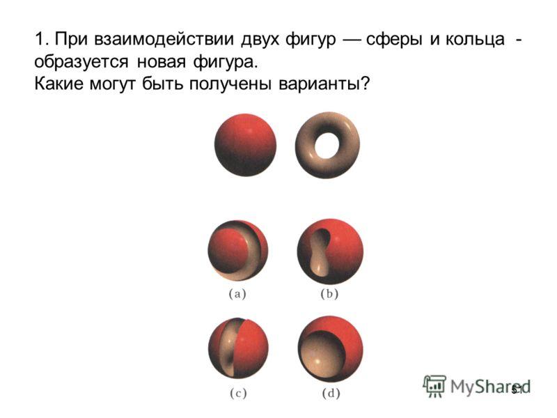 51 1. При взаимодействии двух фигур сферы и кольца - образуется новая фигура. Какие могут быть получены варианты?