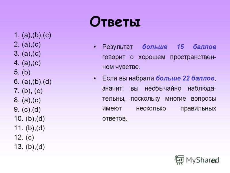 64 Ответы 1. (a),(b),(c) 2. (a),(c) 3. (a),(c) 4. (a),(c) 5. (b) 6. (a),(b),(d) 7. (b), (c) 8. (a),(c) 9. (c),(d) 10. (b),(d) 11. (b),(d) 12. (c) 13. (b),(d) Результат больше 15 баллов говорит о хорошем пространствен- ном чувстве. Если вы набрали бол