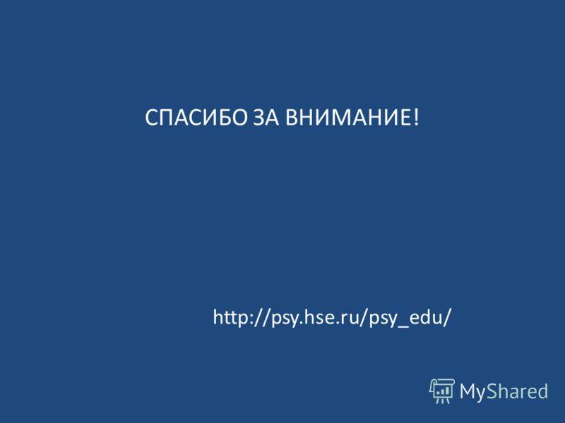 СПАСИБО ЗА ВНИМАНИЕ! http://psy.hse.ru/psy_edu/