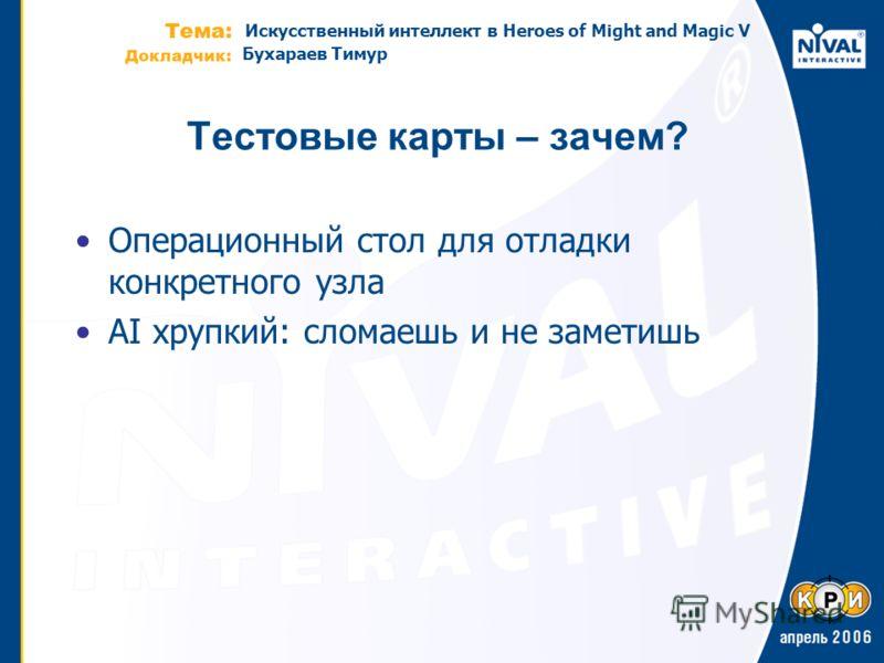 Искусственный интеллект в Heroes of Might and Magic V Бухараев Тимур Теcтовые карты – зачем? Операционный стол для отладки конкретного узла AI хрупкий: сломаешь и не заметишь