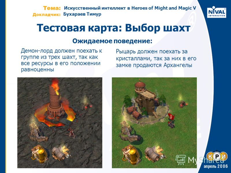 Искусственный интеллект в Heroes of Might and Magic V Бухараев Тимур Тестовая карта: Выбор шахт Демон-лорд должен поехать к группе из трех шахт, так как все ресурсы в его положении равноценны Рыцарь должен поехать за кристаллами, так за них в его зам