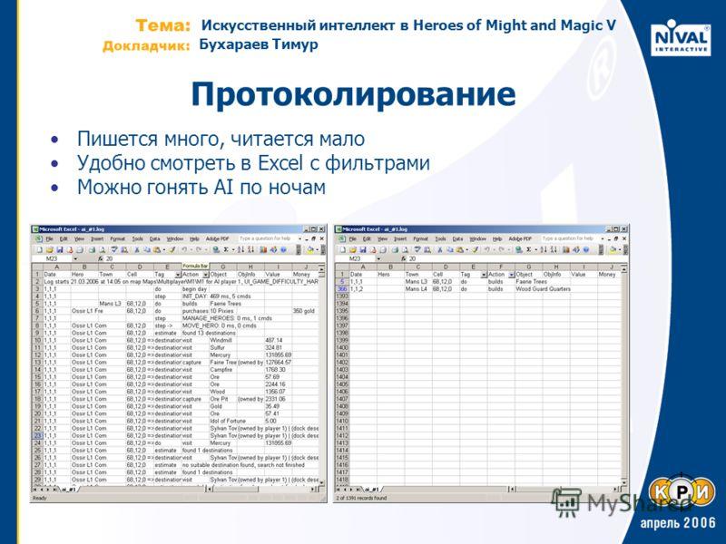 Искусственный интеллект в Heroes of Might and Magic V Бухараев Тимур Протоколирование Пишется много, читается мало Удобно смотреть в Excel с фильтрами Можно гонять AI по ночам
