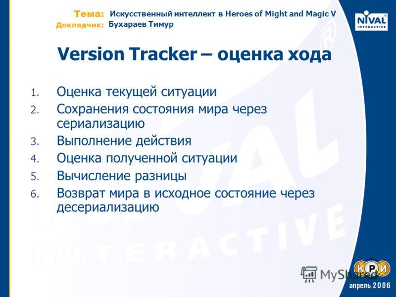 Искусственный интеллект в Heroes of Might and Magic V Бухараев Тимур Version Tracker – оценка хода 1. Оценка текущей ситуации 2. Cохранения состояния мира через сериализацию 3. Выполнение действия 4. Оценка полученной ситуации 5. Вычисление разницы 6
