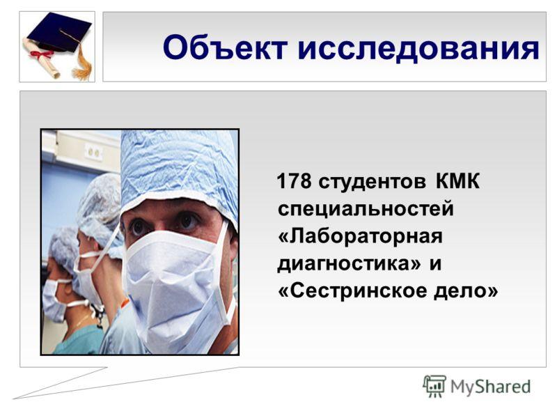 Объект исследования 178 студентов КМК специальностей «Лабораторная диагностика» и «Сестринское дело»