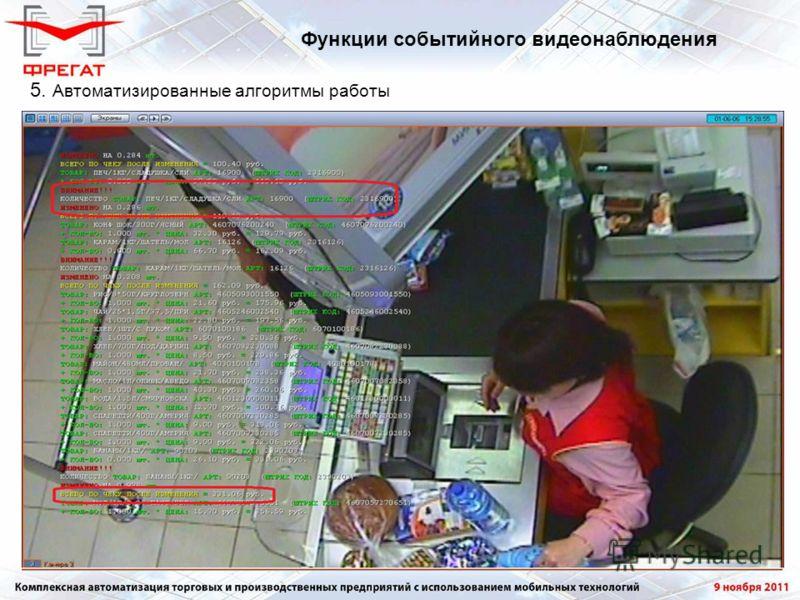 5. Автоматизированные алгоритмы работы Функции событийного видеонаблюдения
