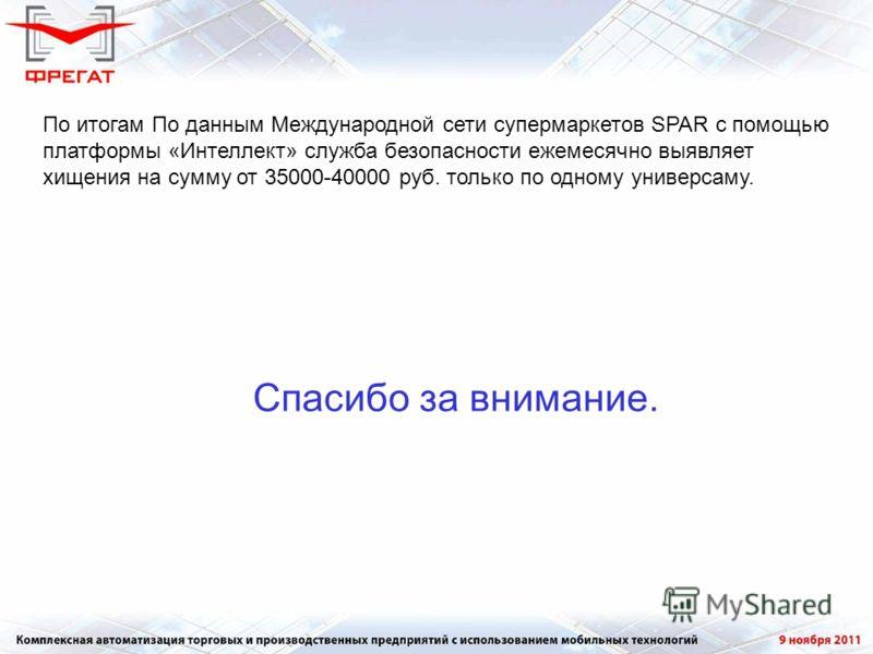 По итогам По данным Международной сети супермаркетов SPAR с помощью платформы «Интеллект» служба безопасности ежемесячно выявляет хищения на сумму от 35000-40000 руб. только по одному универсаму. Спасибо за внимание.