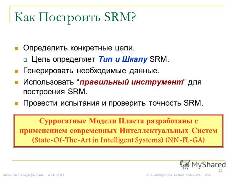 Shahab D. Mohaghegh, Ph.D. – WVU & ISISPE Distinguished Lecture Series, 2007 - 2008 11 Как Построить SRM? Определить конкретные цели. Цель определяет Тип и Шкалу SRM. Генерировать необходимые данные. Использовать правильный инструмент для построения