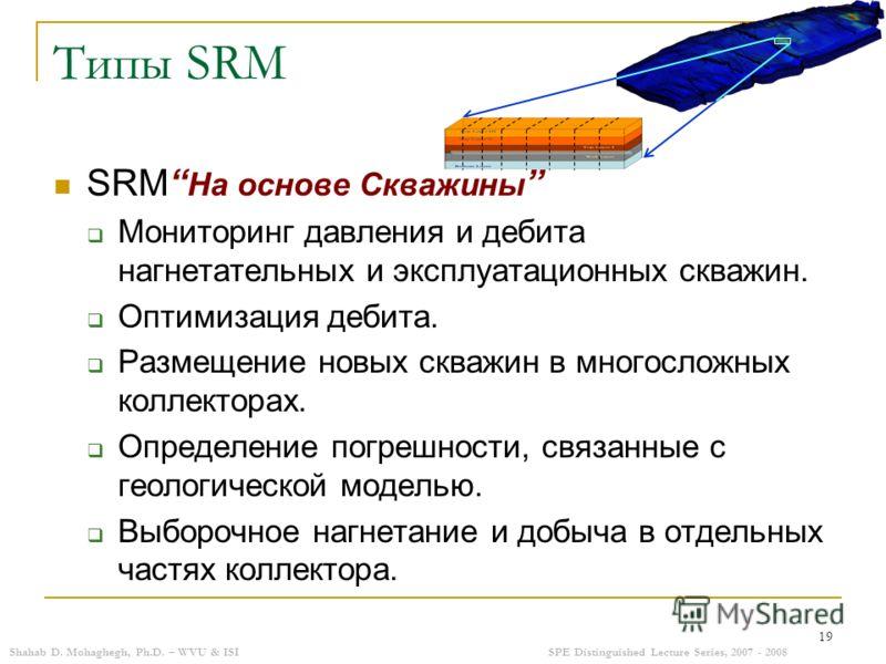 Shahab D. Mohaghegh, Ph.D. – WVU & ISISPE Distinguished Lecture Series, 2007 - 2008 19 Типы SRM SRM На основе Скважины Мониторинг давления и дебита нагнетательных и эксплуатационных скважин. Оптимизация дебита. Размещение новых скважин в многосложных