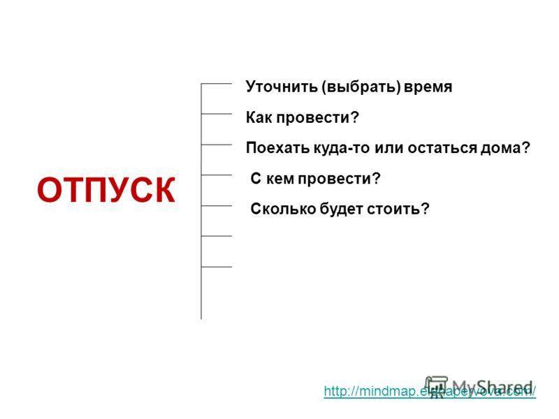 http://mindmap.elenapervova.com/ ОТПУСК Уточнить (выбрать) время Как провести? Поехать куда-то или остаться дома? С кем провести? Сколько будет стоить?