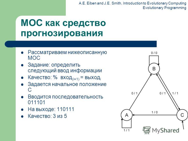 A.E. Eiben and J.E. Smith, Introduction to Evolutionary Computing Evolutionary Programming МОС как средство прогнозирования Рассматриваем нижеописанную МОС Задание: определить следующий ввод информации Качество: % вход (i+1) = выход i Задается началь