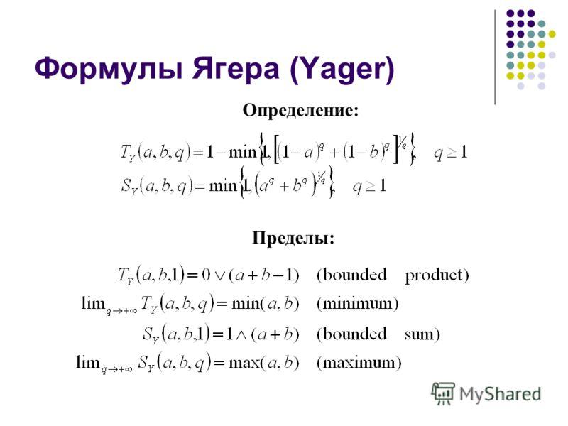 Формулы Ягера (Yager) Пределы: Определение: