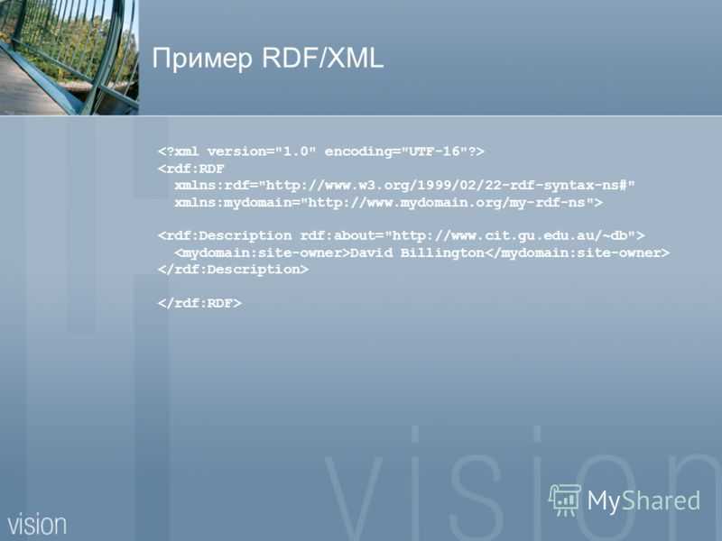 Пример RDF/XML  David Billington