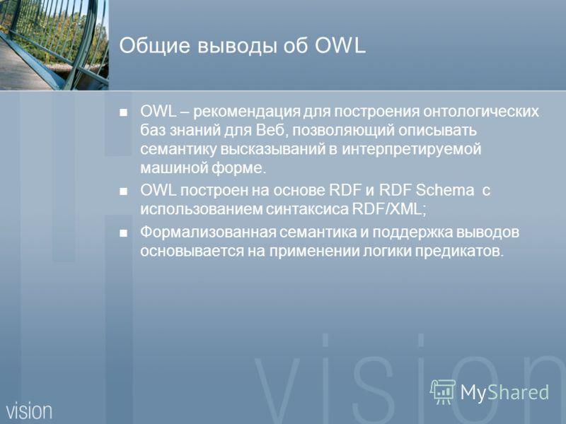 Общие выводы об OWL OWL – рекомендация для построения онтологических баз знаний для Веб, позволяющий описывать семантику высказываний в интерпретируемой машиной форме. OWL построен на основе RDF и RDF Schema с использованием синтаксиса RDF/XML; Форма