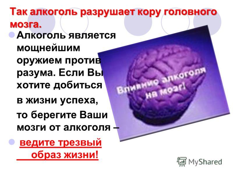 Так алкоголь разрушает кору головного мозга. Алкоголь является мощнейшим оружием против разума. Если Вы хотите добиться в жизни успеха, то берегите Ваши мозги от алкоголя – ведите трезвый образ жизни!