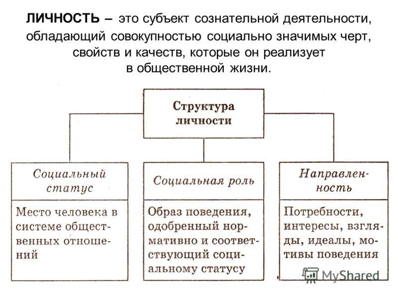 ЛИЧНОСТЬ – это субъект сознательной деятельности, обладающий совокупностью социально значимых черт, свойств и качеств, которые он реализует в общественной жизни.