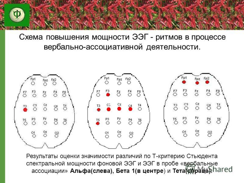 Схема повышения мощности ЭЭГ - ритмов в процессе вербально-ассоциативной деятельности. Результаты оценки значимости различий по Т-критерию Стьюдента спектральной мощности фоновой ЭЭГ и ЭЭГ в пробе «вербальные ассоциации» Альфа(слева), Бета 1(в центре