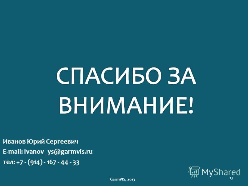13 Иванов Юрий Сергеевич E-mail: Ivanov_ys@garmvis.ru тел: +7 - (914) - 167 - 44 - 33 GarmVIS, 2013