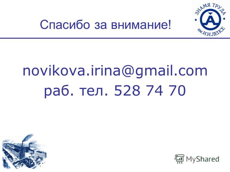 Спасибо за внимание! novikova.irina@gmail.com раб. тел. 528 74 70