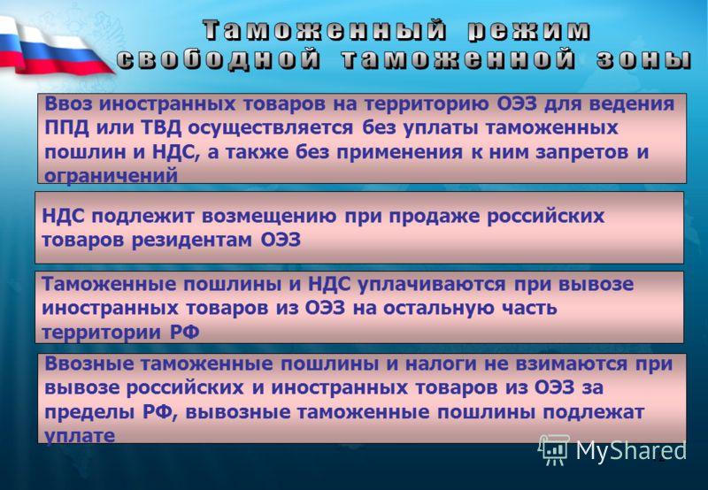 12 Ввоз иностранных товаров на территорию ОЭЗ для ведения ППД или ТВД осуществляется без уплаты таможенных пошлин и НДС, а также без применения к ним запретов и ограничений НДС подлежит возмещению при продаже российских товаров резидентам ОЭЗ Таможен