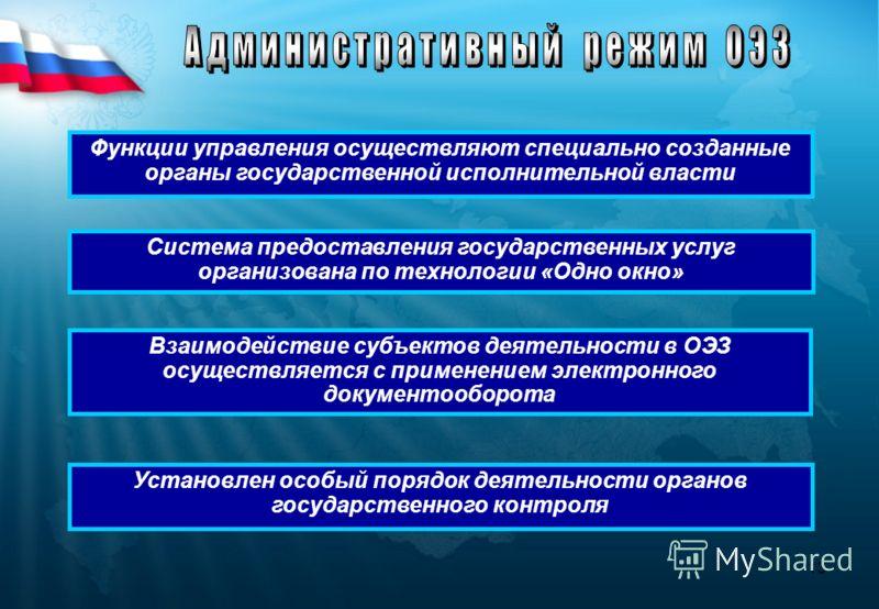 13 Функции управления осуществляют специально созданные органы государственной исполнительной власти Взаимодействие субъектов деятельности в ОЭЗ осуществляется с применением электронного документооборота Система предоставления государственных услуг о