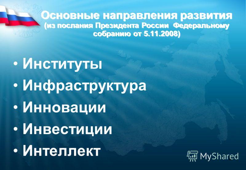 2 Основные направления развития (из послания Президента России Федеральному собранию от 5.11.2008) Институты Инфраструктура Инновации Инвестиции Интеллект