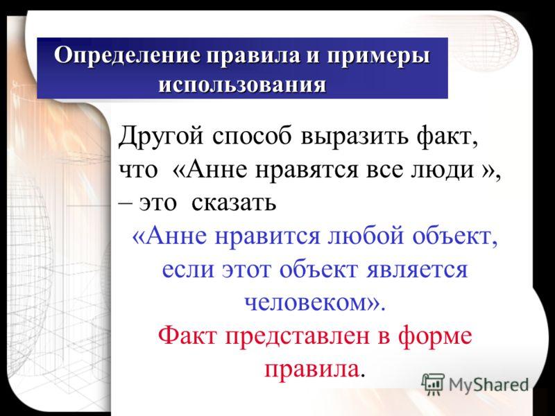 Определение правила и примеры использования Другой способ выразить факт, что «Анне нравятся все люди », – это сказать «Анне нравится любой объект, если этот объект является человеком». Факт представлен в форме правила.