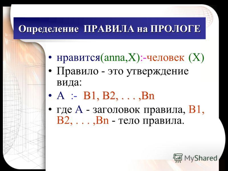 Определение ПРАВИЛА на ПРОЛОГЕ,Xнравится(anna,X):-человек (X) Правило - это утверждение вида: B1, B2,...,BnA :- B1, B2,...,Bn где A - заголовок правила, B1, B2,...,Bn - тело правила.