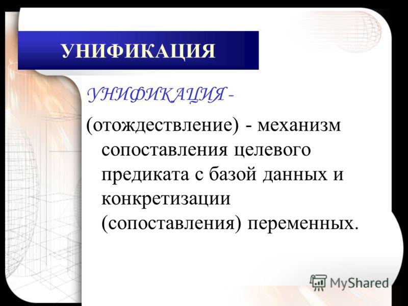 УНИФИКАЦИЯ УНИФИКАЦИЯ - (отождествление) - механизм сопоставления целевого предиката с базой данных и конкретизации (сопоставления) переменных.